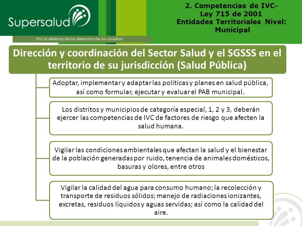 Dirección y coordinación del Sector Salud y el SGSSS en el territorio de su jurisdicción (Salud Pública) Adoptar, implementar y adaptar las políticas