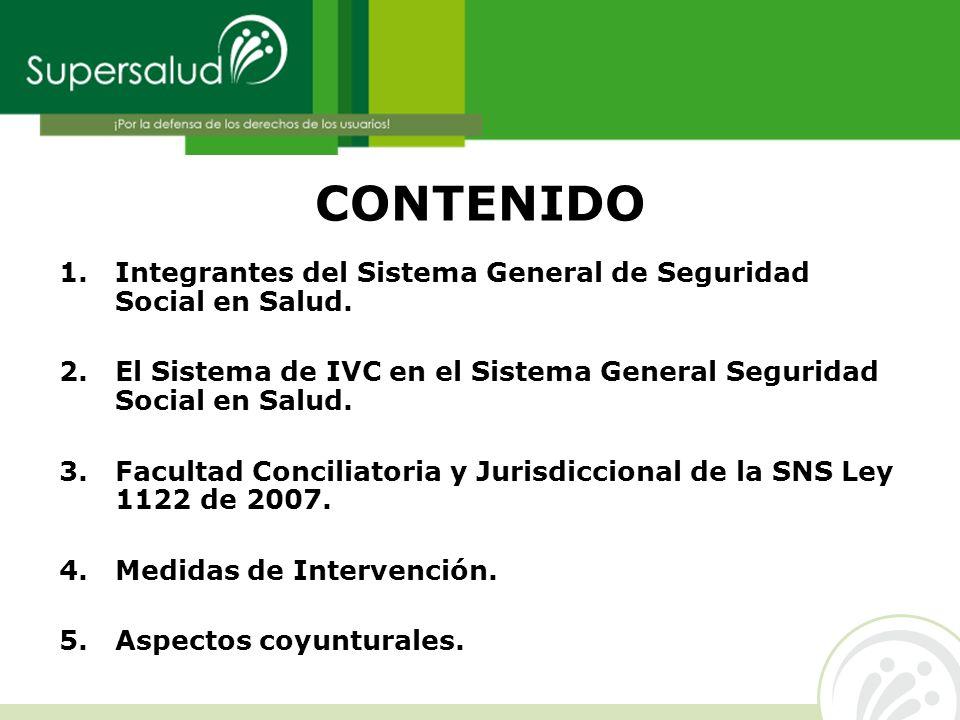CONTENIDO 1. Integrantes del Sistema General de Seguridad Social en Salud. 2.El Sistema de IVC en el Sistema General Seguridad Social en Salud. 3. Fac