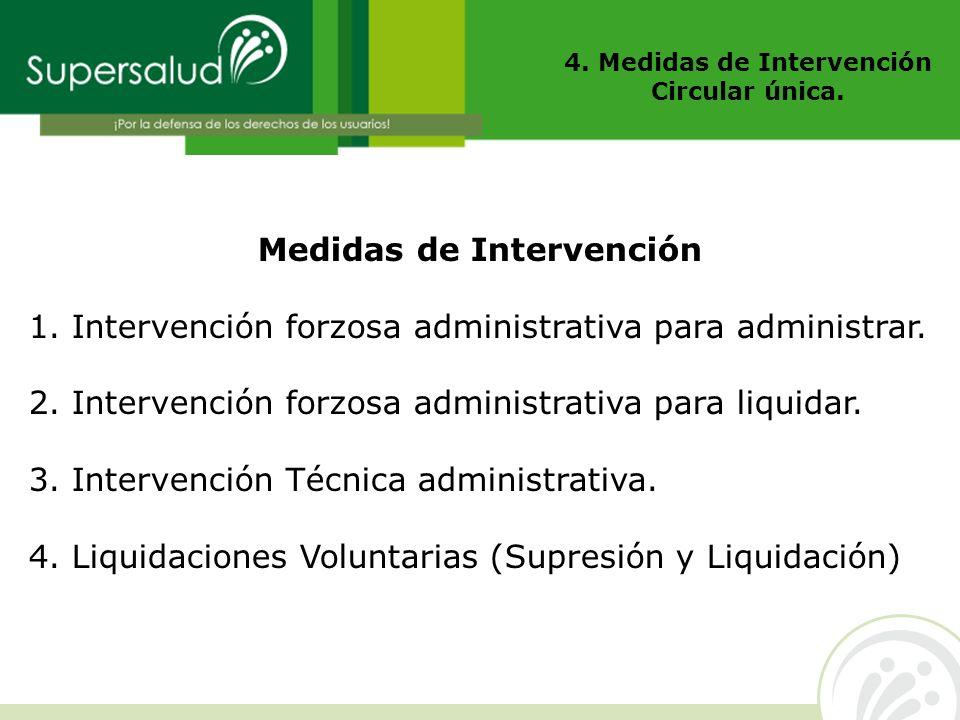 4. Medidas de Intervención Circular única. Medidas de Intervención 1. Intervención forzosa administrativa para administrar. 2. Intervención forzosa ad