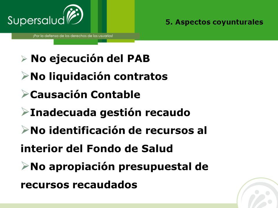 5. Aspectos coyunturales No ejecución del PAB No liquidación contratos Causación Contable Inadecuada gestión recaudo No identificación de recursos al