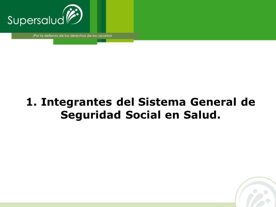 1. Integrantes del Sistema General de Seguridad Social en Salud.
