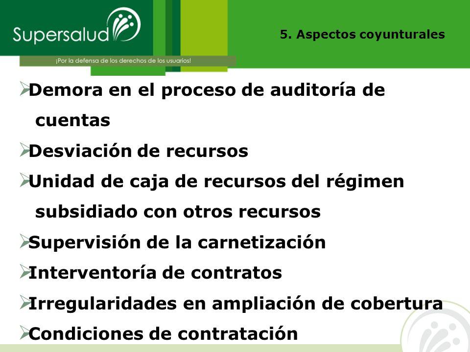 Demora en el proceso de auditoría de cuentas Desviación de recursos Unidad de caja de recursos del régimen subsidiado con otros recursos Supervisión d