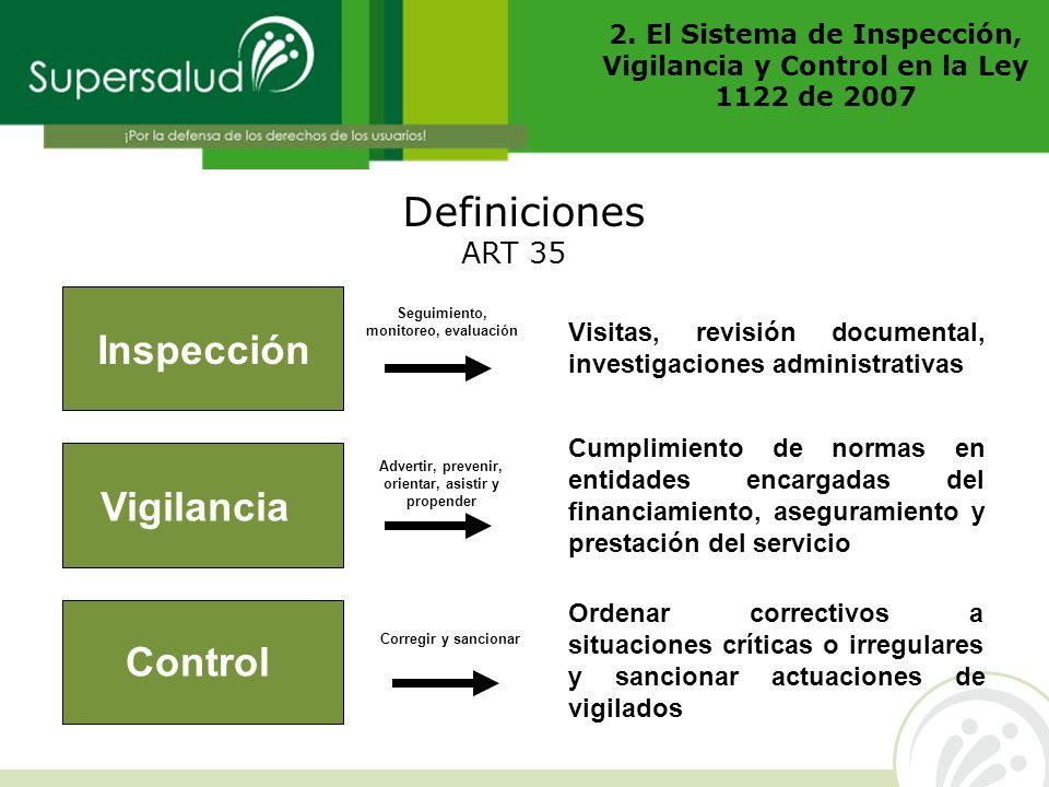 2. El Sistema de Inspección, Vigilancia y Control en la Ley 1122 de 2007 Definiciones Inspección Vigilancia Control Visitas, revisión documental, inve