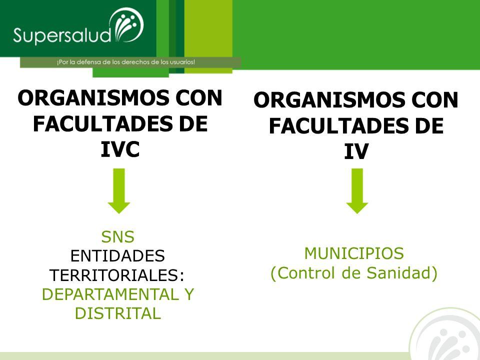 ORGANISMOS CON FACULTADES DE IVC SNS ENTIDADES TERRITORIALES: DEPARTAMENTAL Y DISTRITAL ORGANISMOS CON FACULTADES DE IV MUNICIPIOS (Control de Sanidad