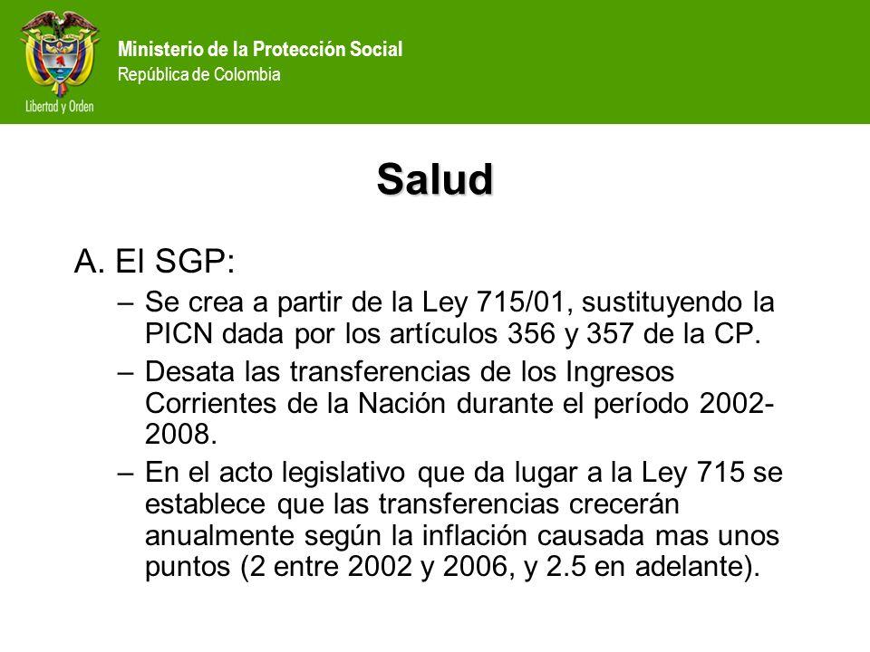 Ministerio de la Protección Social República de Colombia Salud A. El SGP: –Se crea a partir de la Ley 715/01, sustituyendo la PICN dada por los artícu