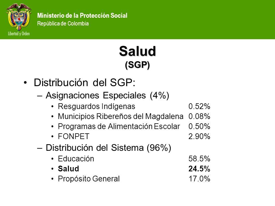 Ministerio de la Protección Social República de Colombia Salud (SGP) Distribución del SGP: –Asignaciones Especiales (4%) Resguardos Indígenas0.52% Mun