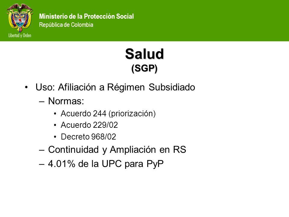 Ministerio de la Protección Social República de Colombia Salud (SGP) Uso: Afiliación a Régimen Subsidiado –Normas: Acuerdo 244 (priorización) Acuerdo
