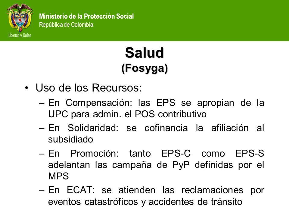 Salud (Fosyga) Uso de los Recursos: –En Compensación: las EPS se apropian de la UPC para admin. el POS contributivo –En Solidaridad: se cofinancia la