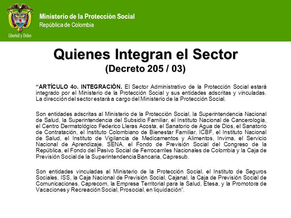 Ministerio de la Protección Social República de Colombia Salud (SGP) Distribución del SGP: –Asignaciones Especiales (4%) Resguardos Indígenas0.52% Municipios Ribereños del Magdalena0.08% Programas de Alimentación Escolar0.50% FONPET2.90% –Distribución del Sistema (96%) Educación58.5% Salud24.5% Propósito General17.0%
