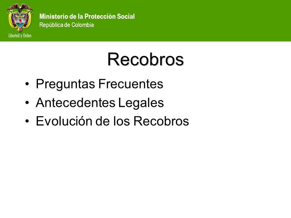 Ministerio de la Protección Social República de Colombia Recobros Preguntas Frecuentes Antecedentes Legales Evolución de los Recobros