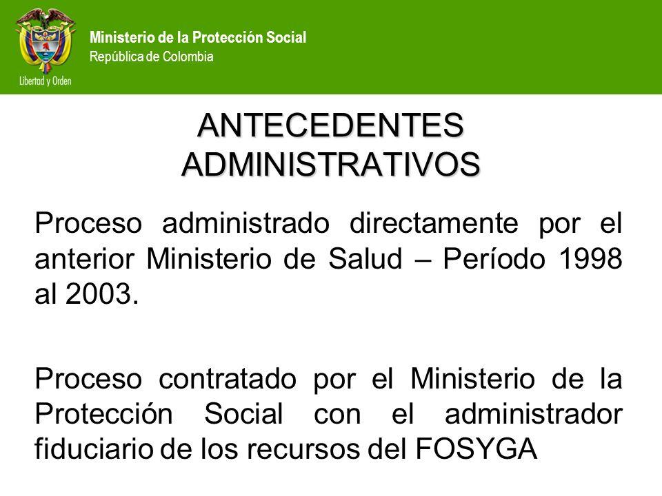 Ministerio de la Protección Social República de Colombia ANTECEDENTES ADMINISTRATIVOS Proceso administrado directamente por el anterior Ministerio de