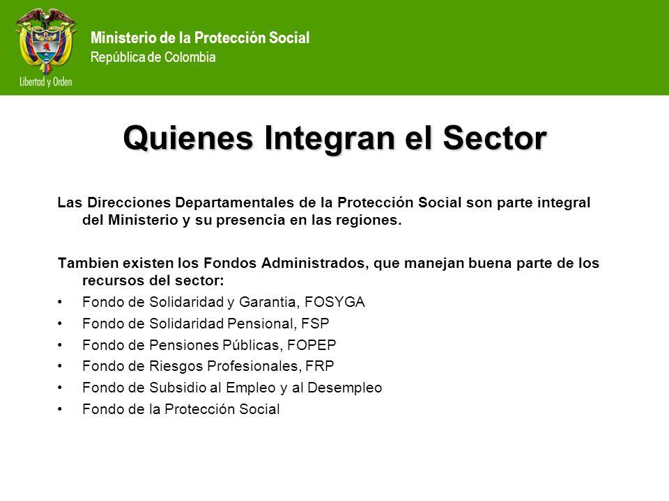 Ministerio de la Protección Social República de Colombia Quienes Integran el Sector Las Direcciones Departamentales de la Protección Social son parte