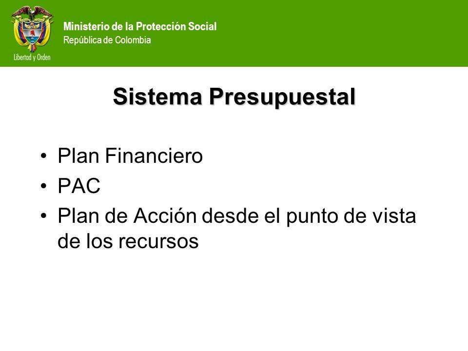 Ministerio de la Protección Social República de Colombia Sistema Presupuestal A.Plan Financiero Es un instrumento de planificación y gestión financiera, que sirve para determinar en el mediano plazo (durante el período de gobierno, las previsiones de ingresos, gastos, excedentes, y los sistemas de financiación que serán necesarios para el cumplimiento de los planes sectoriales o institucionales.
