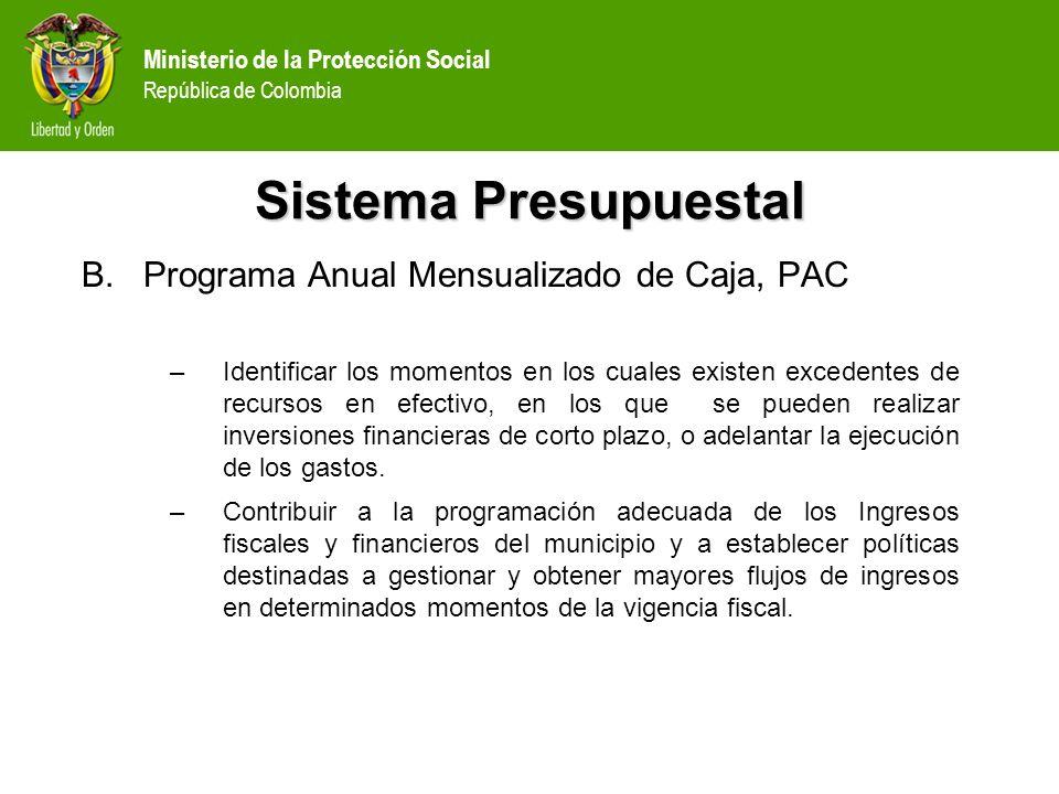Ministerio de la Protección Social República de Colombia Sistema Presupuestal B.Programa Anual Mensualizado de Caja, PAC –Identificar los momentos en