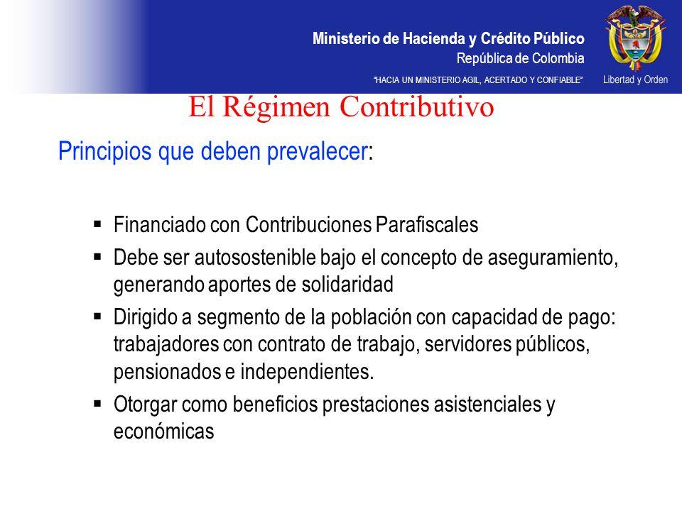Ministerio de Hacienda y Crédito Público República de Colombia HACIA UN MINISTERIO AGIL, ACERTADO Y CONFIABLE El Régimen Contributivo Principios que d