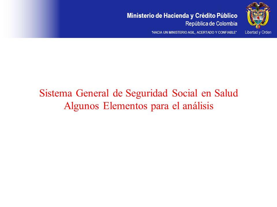 Ministerio de Hacienda y Crédito Público República de Colombia HACIA UN MINISTERIO AGIL, ACERTADO Y CONFIABLE Sistema General de Seguridad Social en S