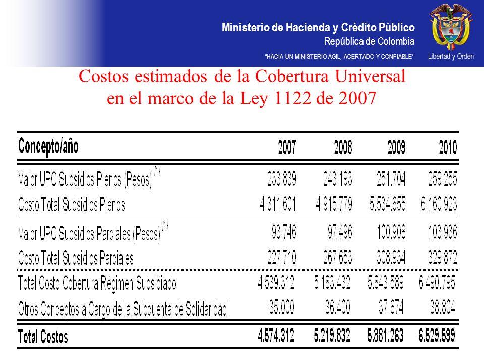 Ministerio de Hacienda y Crédito Público República de Colombia HACIA UN MINISTERIO AGIL, ACERTADO Y CONFIABLE Costos estimados de la Cobertura Univers