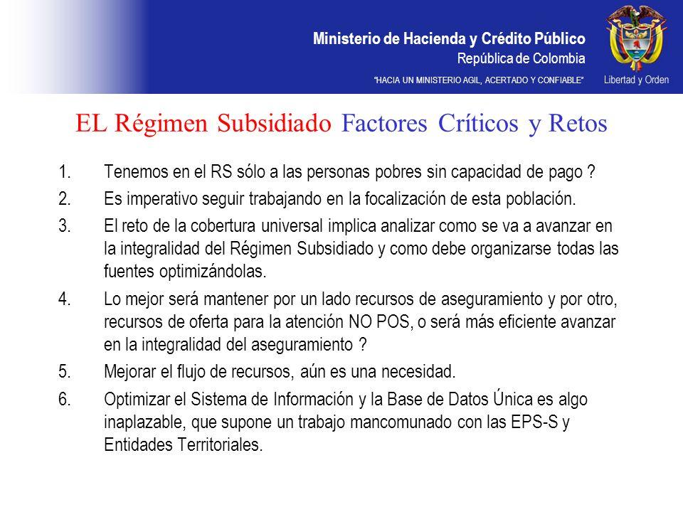 Ministerio de Hacienda y Crédito Público República de Colombia HACIA UN MINISTERIO AGIL, ACERTADO Y CONFIABLE EL Régimen Subsidiado Factores Críticos