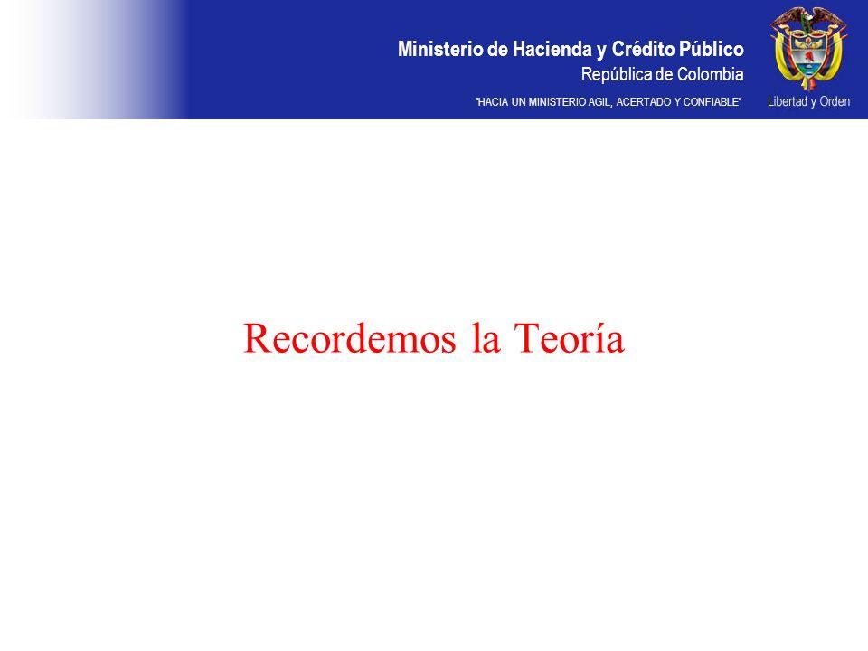 Ministerio de Hacienda y Crédito Público República de Colombia HACIA UN MINISTERIO AGIL, ACERTADO Y CONFIABLE Recordemos la Teoría