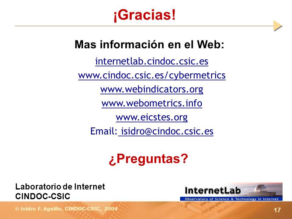 17 © Isidro F. Aguillo, CINDOC-CSIC, 2004 ¡Gracias! internetlab.cindoc.csic.es www.cindoc.csic.es/cybermetrics www.webindicators.org www.webometrics.i
