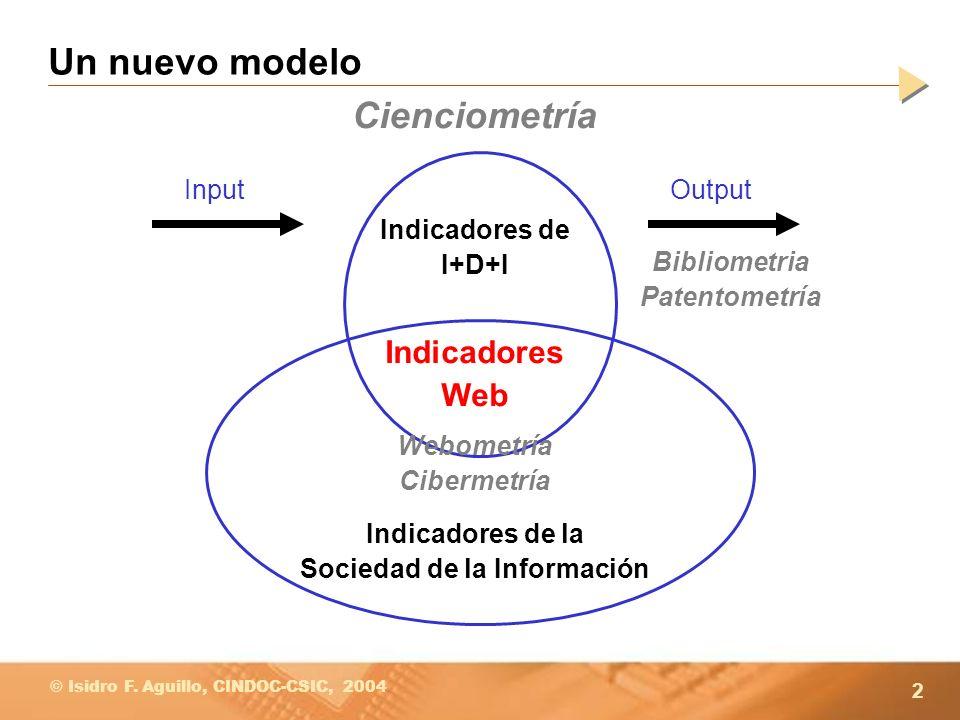 2 © Isidro F. Aguillo, CINDOC-CSIC, 2004 Un nuevo modelo Indicadores de I+D+I Indicadores de la Sociedad de la Información InputOutput Indicadores Web