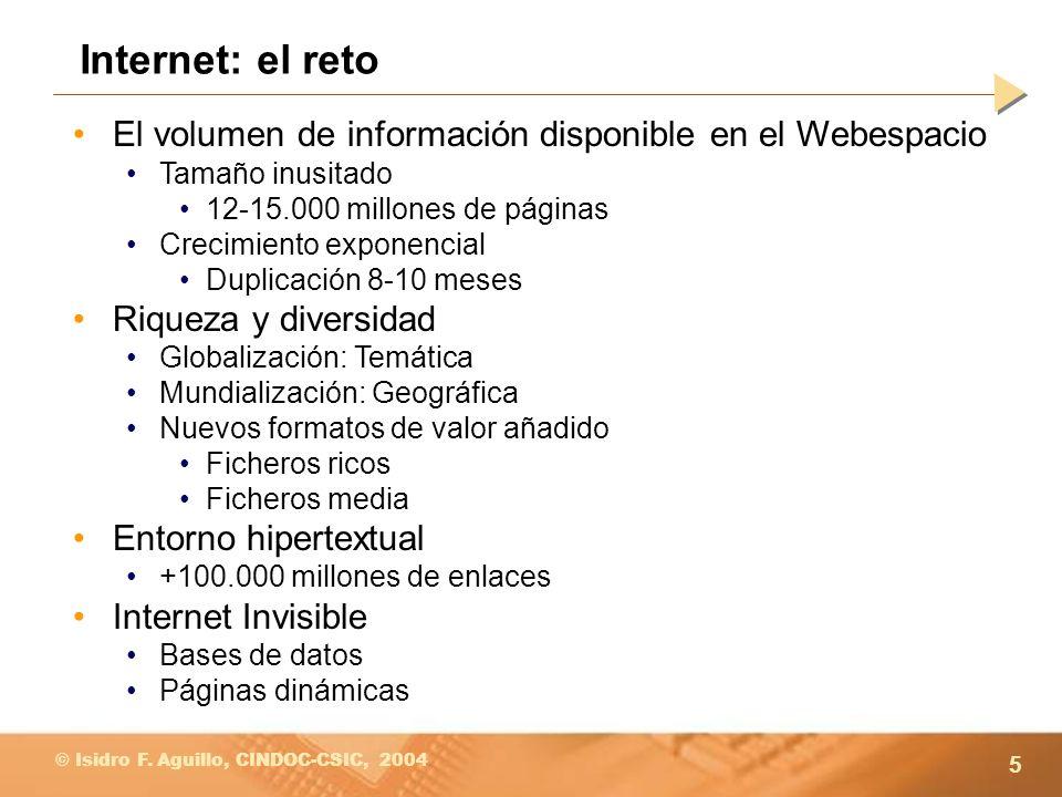 5 © Isidro F. Aguillo, CINDOC-CSIC, 2004 Internet: el reto El volumen de información disponible en el Webespacio Tamaño inusitado 12-15.000 millones d