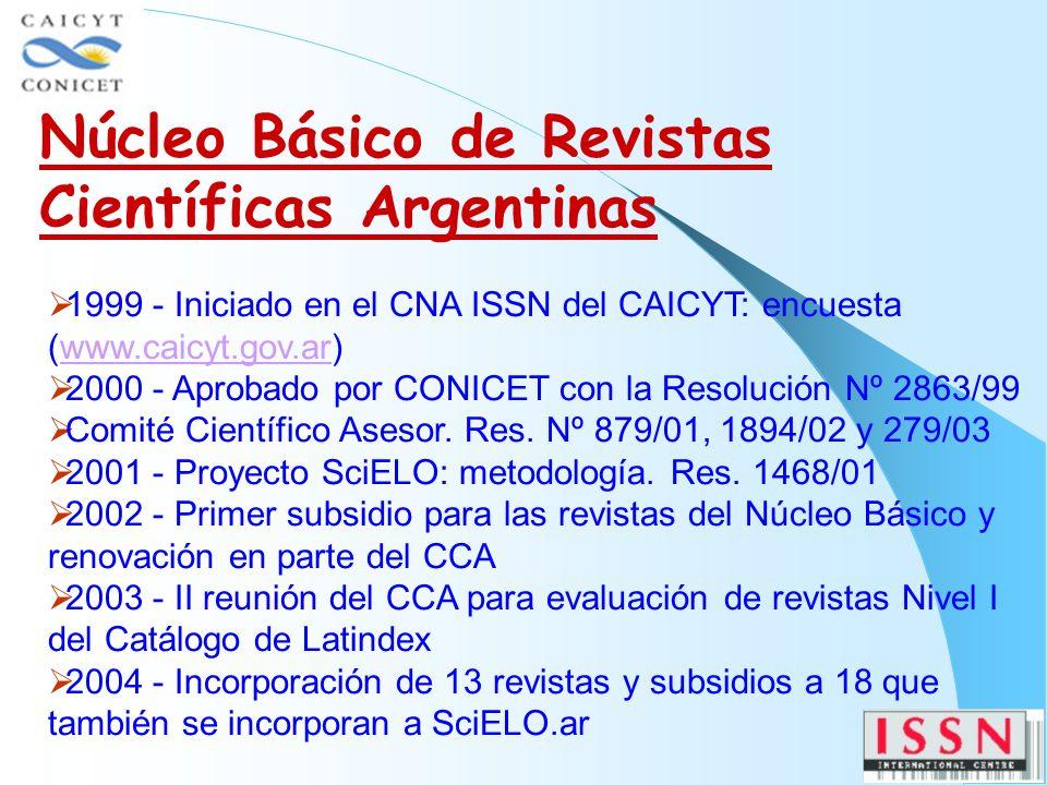 1999 - Iniciado en el CNA ISSN del CAICYT: encuesta (www.caicyt.gov.ar)www.caicyt.gov.ar 2000 - Aprobado por CONICET con la Resolución Nº 2863/99 Comité Científico Asesor.