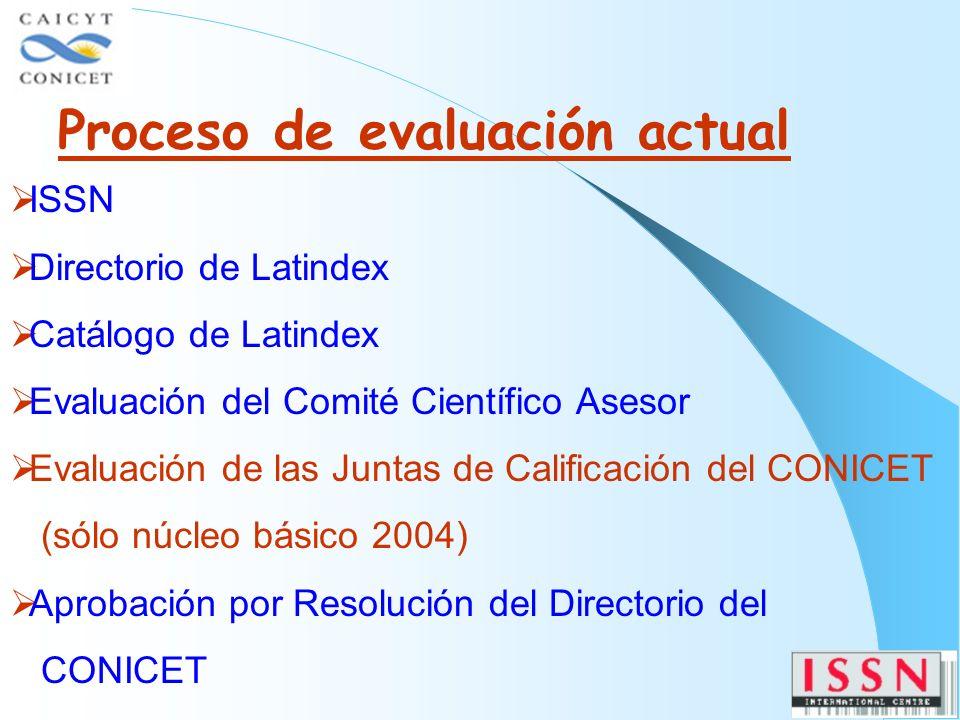 Proceso de evaluación actual ISSN Directorio de Latindex Catálogo de Latindex Evaluación del Comité Científico Asesor Evaluación de las Juntas de Calificación del CONICET (sólo núcleo básico 2004) Aprobación por Resolución del Directorio del CONICET