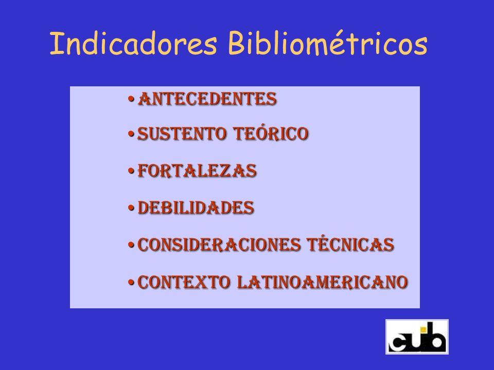 Indicadores Bibliométricos AntecedentesAntecedentes Sustento TeóricoSustento Teórico FortalezasFortalezas DebilidadesDebilidades Consideraciones Técni