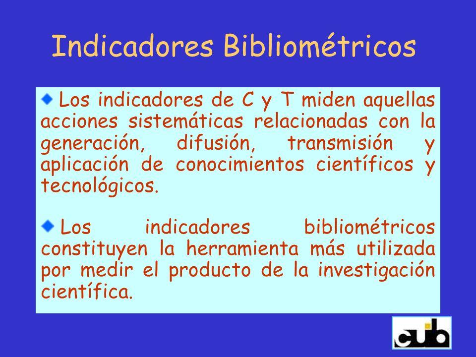 Indicadores Bibliométricos Los indicadores de C y T miden aquellas acciones sistemáticas relacionadas con la generación, difusión, transmisión y aplic