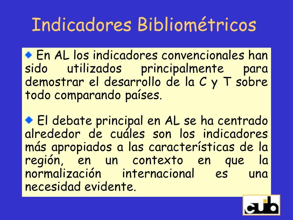 Indicadores Bibliométricos En AL los indicadores convencionales han sido utilizados principalmente para demostrar el desarrollo de la C y T sobre todo