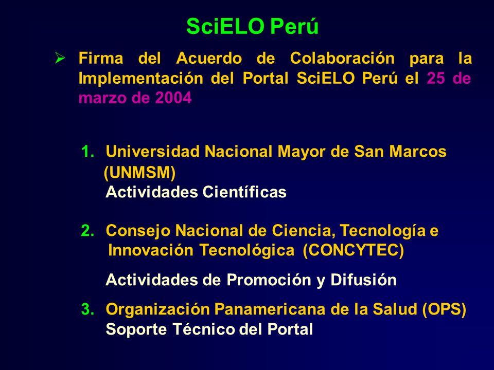 Firma del Acuerdo de Colaboración para la Implementación del Portal SciELO Perú el 25 de marzo de 2004 SciELO Perú 1.Universidad Nacional Mayor de San