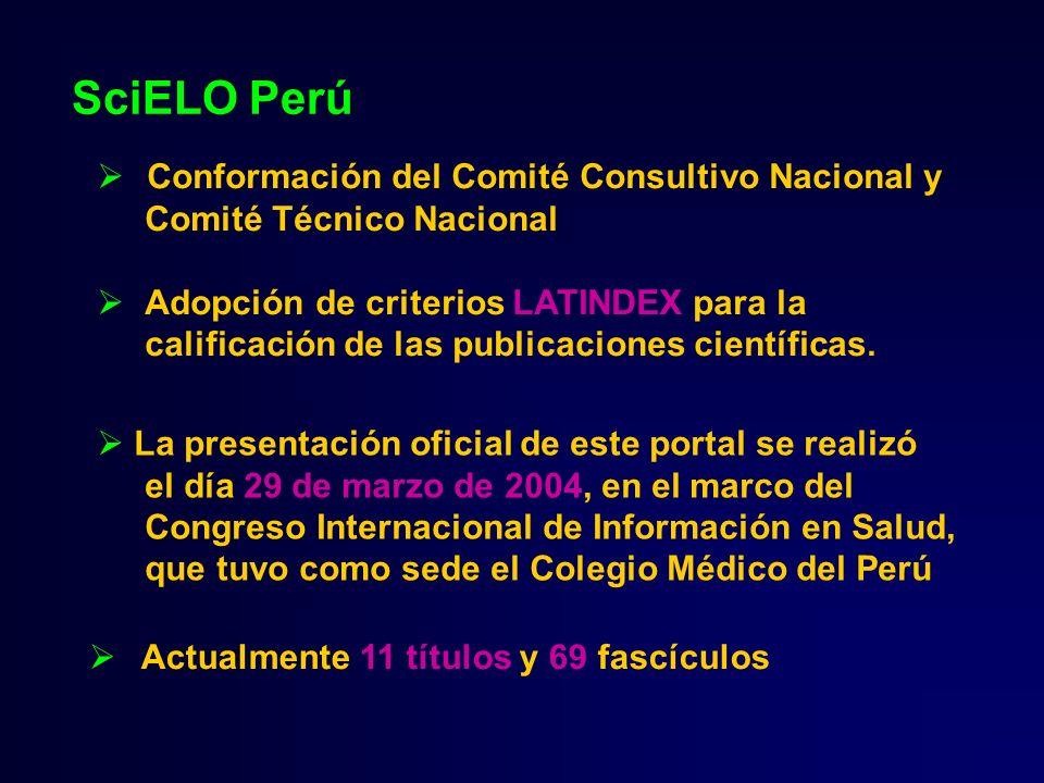 SciELO Perú Actualmente 11 títulos y 69 fascículos Conformación del Comité Consultivo Nacional y Comité Técnico Nacional Adopción de criterios LATINDE