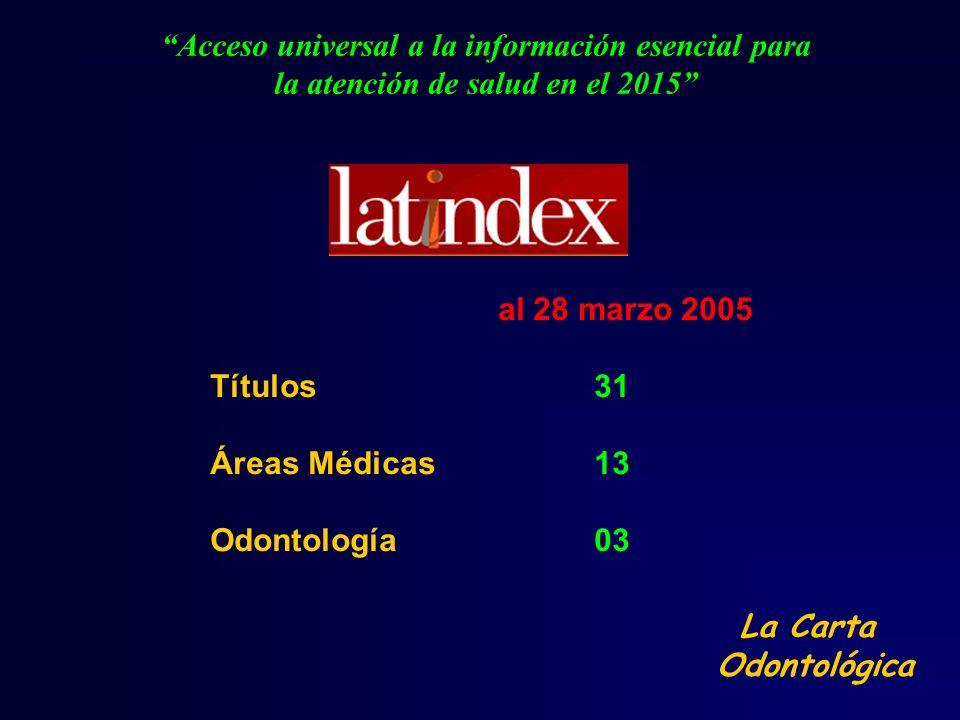 Acceso universal a la información esencial para la atención de salud en el 2015 al 28 marzo 2005 Títulos 31 Áreas Médicas13 Odontología03 La Carta Odo