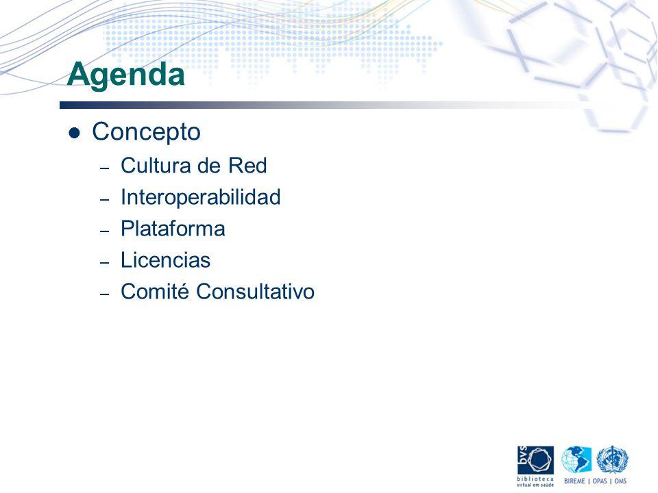 Agenda Concepto – Cultura de Red – Interoperabilidad – Plataforma – Licencias – Comité Consultativo