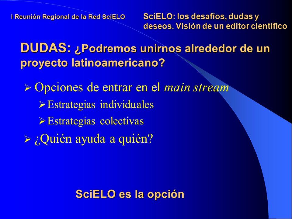 I Reunión Regional de la Red SciELO Opciones de entrar en el main stream Estrategias individuales Estrategias colectivas ¿Quién ayuda a quién.