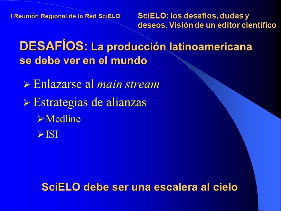 I Reunión Regional de la Red SciELO Enlazarse al main stream Estrategias de alianzas Medline ISI SciELO: los desafíos, dudas y deseos.