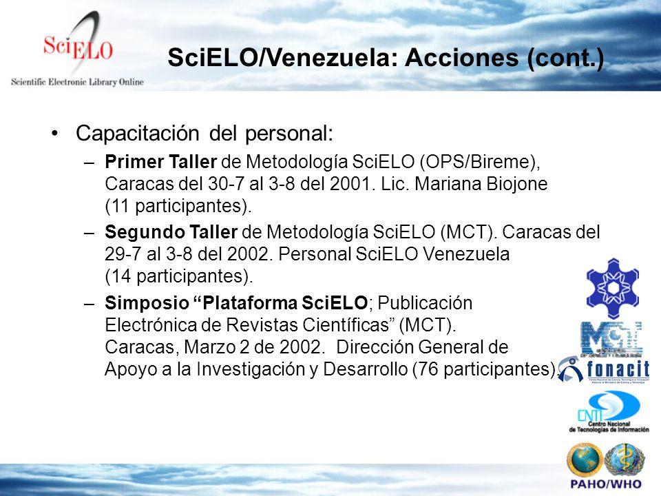Capacitación del personal: –Primer Taller de Metodología SciELO (OPS/Bireme), Caracas del 30-7 al 3-8 del 2001. Lic. Mariana Biojone (11 participantes