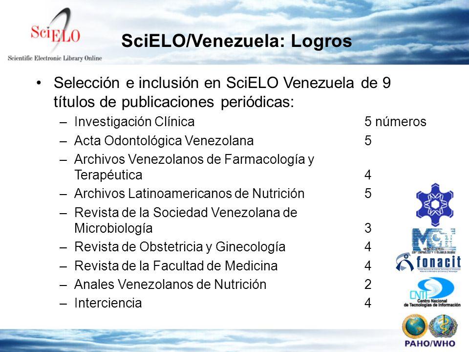 Selección e inclusión en SciELO Venezuela de 9 títulos de publicaciones periódicas: –Investigación Clínica 5 números –Acta Odontológica Venezolana5 –A