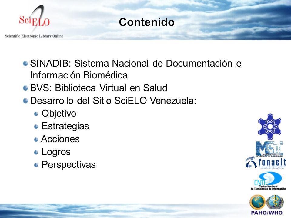 Contenido SINADIB: Sistema Nacional de Documentación e Información Biomédica BVS: Biblioteca Virtual en Salud Desarrollo del Sitio SciELO Venezuela: Objetivo Estrategias Acciones Logros Perspectivas