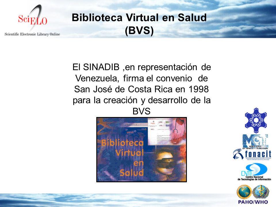 Biblioteca Virtual en Salud (BVS) El SINADIB,en representación de Venezuela, firma el convenio de San José de Costa Rica en 1998 para la creación y desarrollo de la BVS