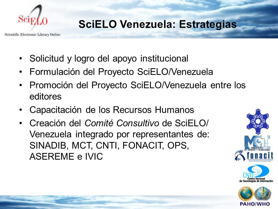 SciELO Venezuela: Estrategias Solicitud y logro del apoyo institucional Formulación del Proyecto SciELO/Venezuela Promoción del Proyecto SciELO/Venezuela entre los editores Capacitación de los Recursos Humanos Creación del Comité Consultivo de SciELO/ Venezuela integrado por representantes de: SINADIB, MCT, CNTI, FONACIT, OPS, ASEREME e IVIC