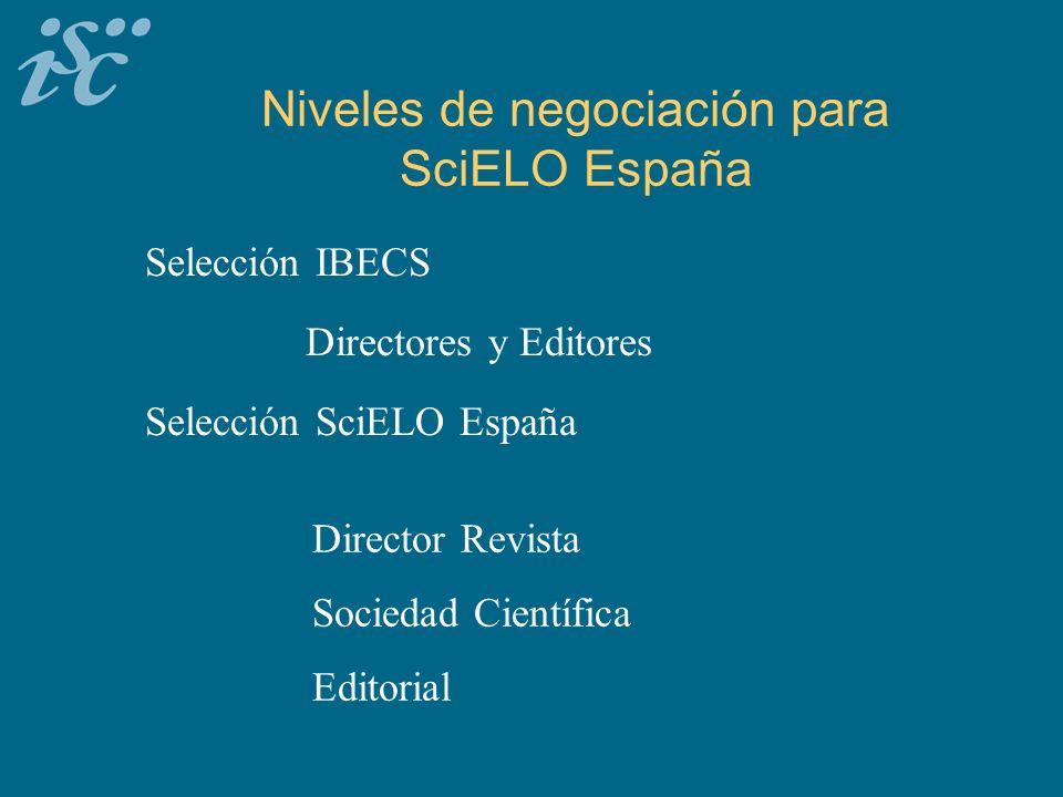Niveles de negociación para SciELO España Selección IBECS Selección SciELO España Director Revista Sociedad Científica Editorial Directores y Editores