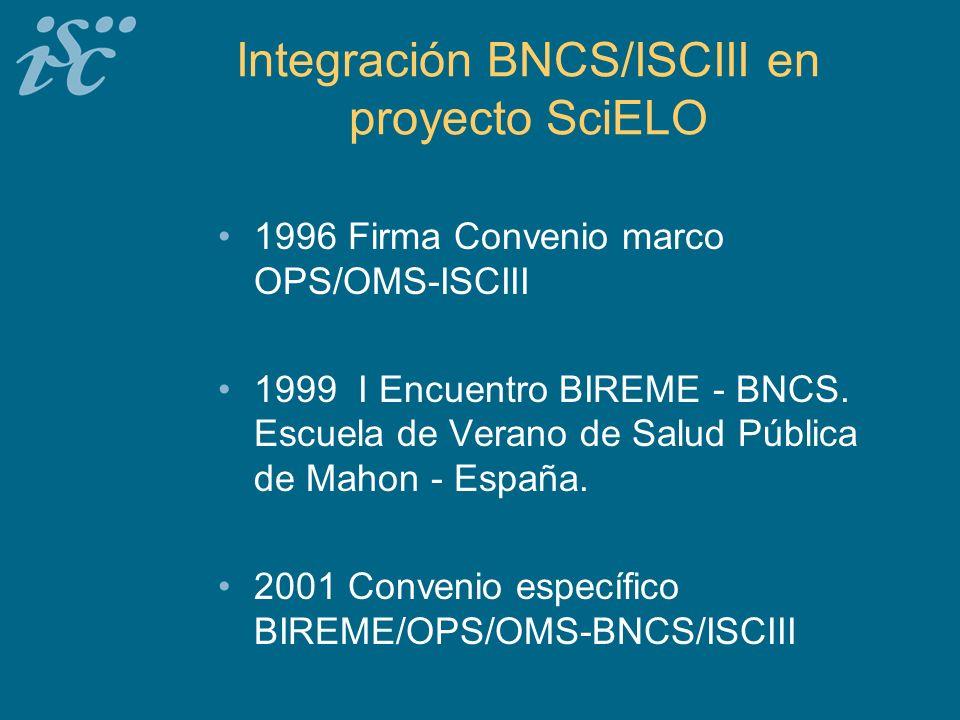 Integración BNCS/ISCIII en proyecto SciELO 1996 Firma Convenio marco OPS/OMS-ISCIII 1999 I Encuentro BIREME - BNCS.