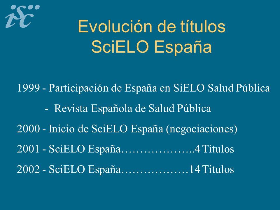 Evolución de títulos SciELO España 1999 - Participación de España en SiELO Salud Pública - Revista Española de Salud Pública 2000 - Inicio de SciELO España (negociaciones) 2001 - SciELO España………………..4 Títulos 2002 - SciELO España………………14 Títulos