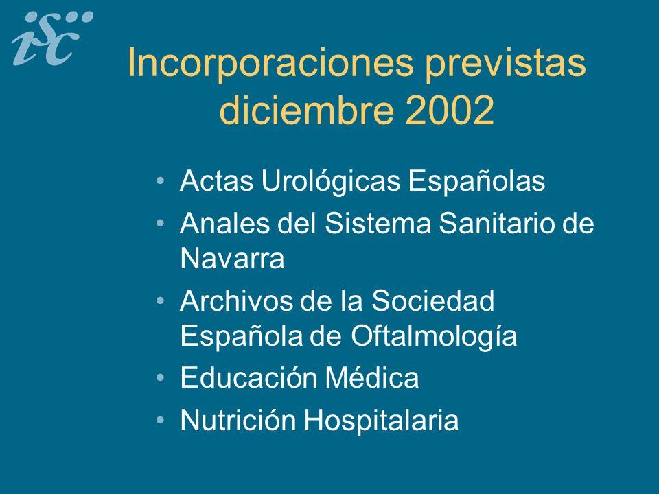 Incorporaciones previstas diciembre 2002 Actas Urológicas Españolas Anales del Sistema Sanitario de Navarra Archivos de la Sociedad Española de Oftalmología Educación Médica Nutrición Hospitalaria
