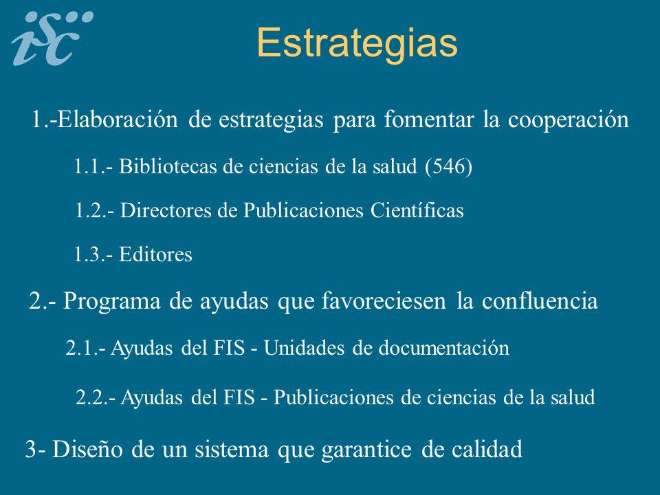 Estrategias 1.-Elaboración de estrategias para fomentar la cooperación 1.1.- Bibliotecas de ciencias de la salud (546) 1.2.- Directores de Publicaciones Científicas 1.3.- Editores 2.- Programa de ayudas que favoreciesen la confluencia 2.1.- Ayudas del FIS - Unidades de documentación 2.2.- Ayudas del FIS - Publicaciones de ciencias de la salud 3- Diseño de un sistema que garantice de calidad