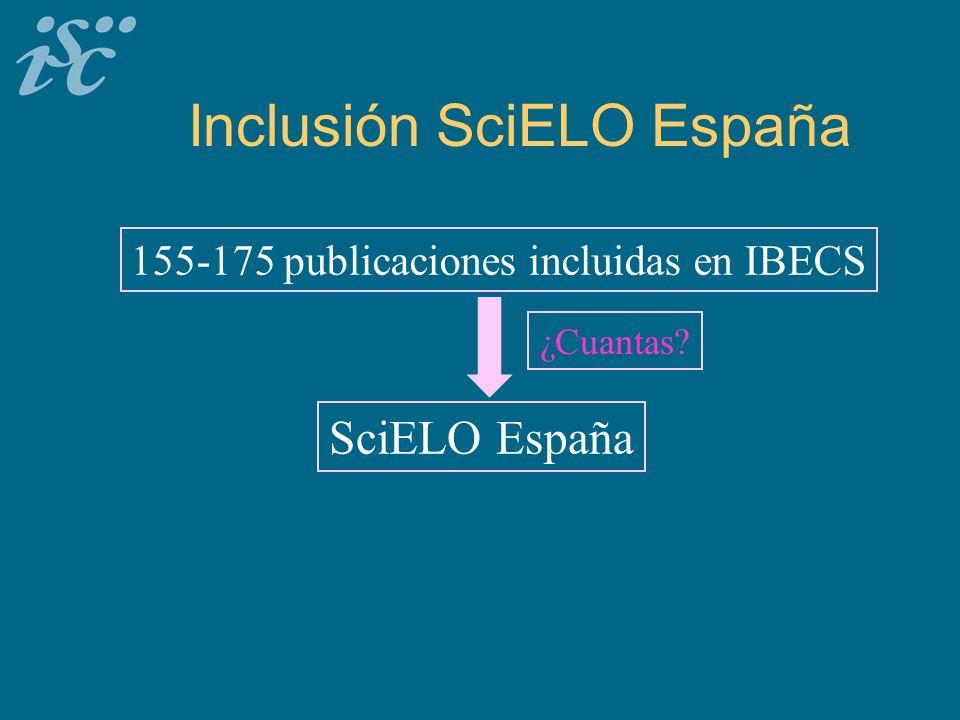 Inclusión SciELO España 155-175 publicaciones incluidas en IBECS SciELO España ¿Cuantas