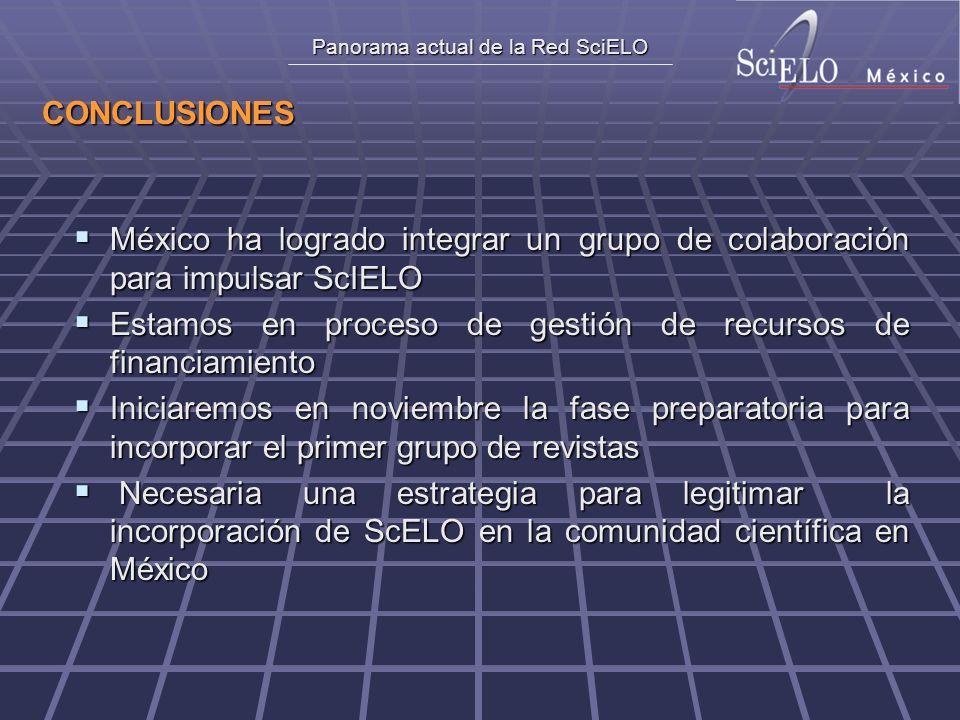 Panorama actual de la Red SciELO CONCLUSIONES México ha logrado integrar un grupo de colaboración para impulsar ScIELO México ha logrado integrar un g