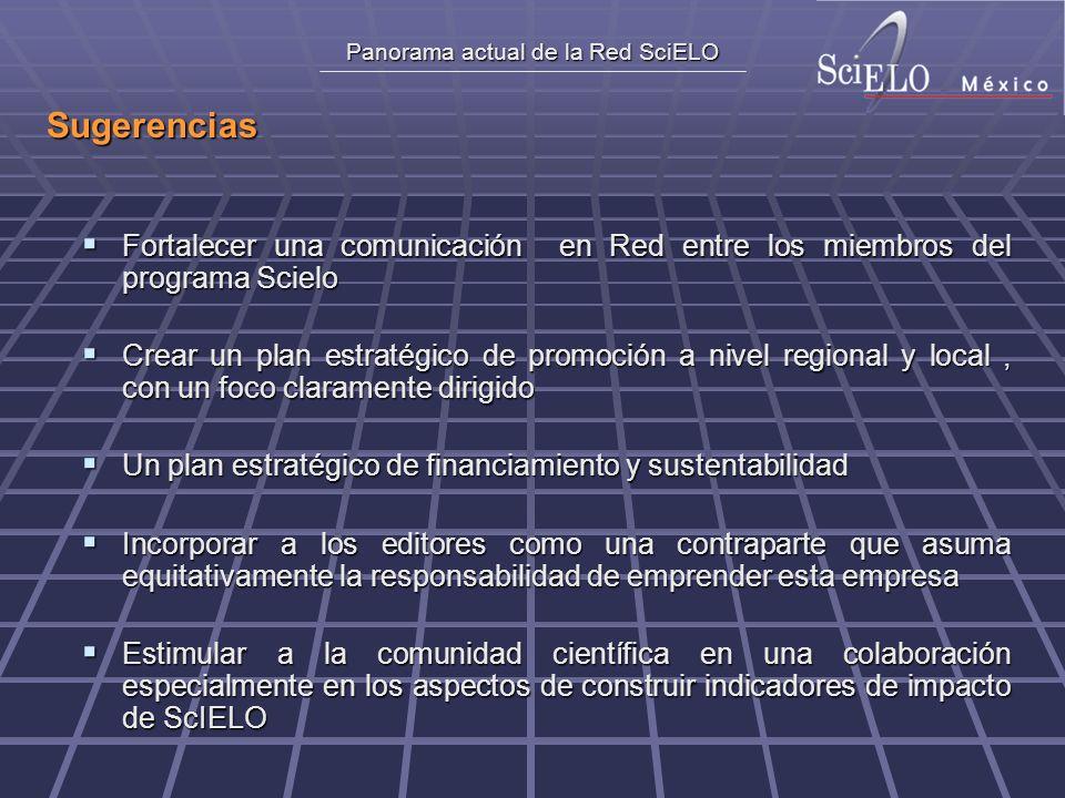 Panorama actual de la Red SciELO Sugerencias Fortalecer una comunicación en Red entre los miembros del programa Scielo Fortalecer una comunicación en